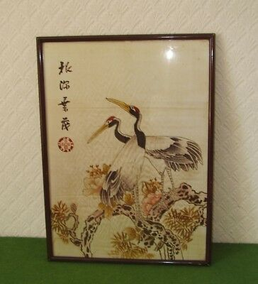 ANTIQUE CHINESE PAINTING ON SILK TWO HERONS IN BLOSSOM TREE SIGNED circa 1900