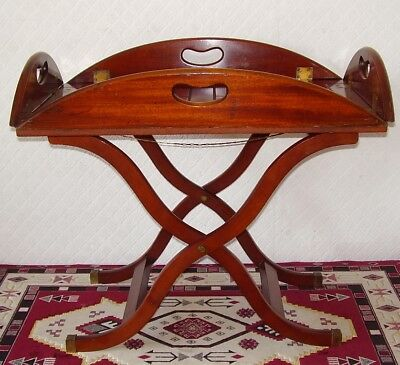 Antique Mahogany & Brass Butlers Tray & Stand Coffee Table Georgian Reproduction
