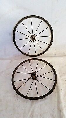 "Antique Set of 2 Wire Spoke 9-1/2"" Wheels Baby Carriage,Wagon"