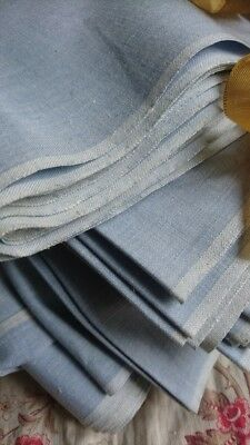 10 MTRS DIVINE ANTIQUE FRENCH CHAMBRAY  FINE LINEN UNUSED c1910 MERCERIE STOCK