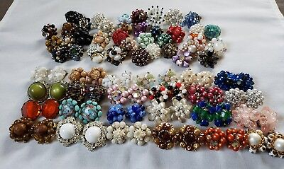 HUGE Lot of  Vintage CLIP ON EARRINGS SIGNED RHINESTONE Cluster Pairs And Single
