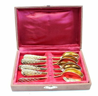 Vintage Set Of RUSSIAN 875 SILVER Gold Gilt Teaspoons BOXED - W58