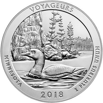 2018 Voyageurs 5 oz. Silver ATB America the Beautiful 25C Coin GEM BU SKU49874