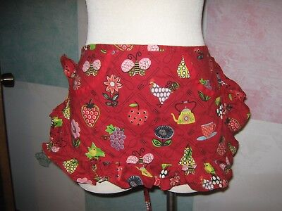 Red Teapot Coffee Cup Strawberry Butterfly Pear Rooster 2 Pocket Tie Waist Apron