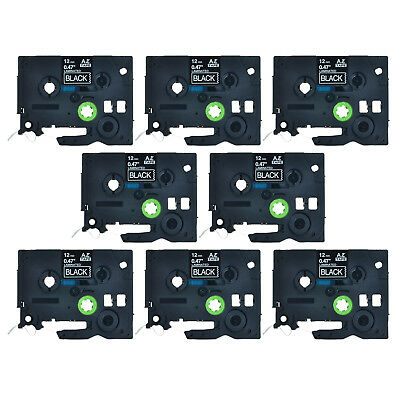 8PK 12mm White on Black Label Tape For Brother TZ TZe-335 P-Touch PT-1830 PT2730