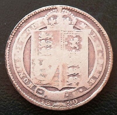 1890 Great Britain 1 Shilling Silver Coin -  D127