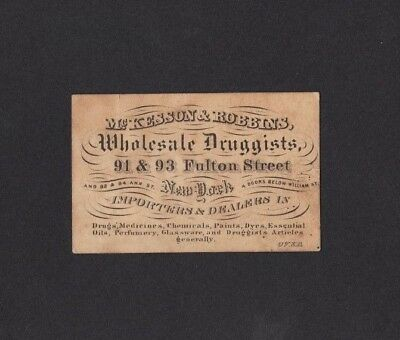 Early Mckesson & Robbins Wholesale Druggists Drugs New York City Business Card