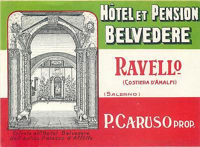 Ravello Italy Hotel Et Pension Belvedere Scarce Old Baggage Luggage Label