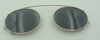 Vintage Brooks Brothers 191 1001 Gold Metal Oval Clips Clip on Sunglasses Italy