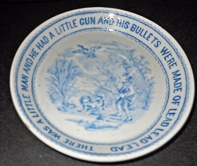 "1888 English Child Plate ""There Was A Little Man and He Had A Little Gun"" Rhyme"