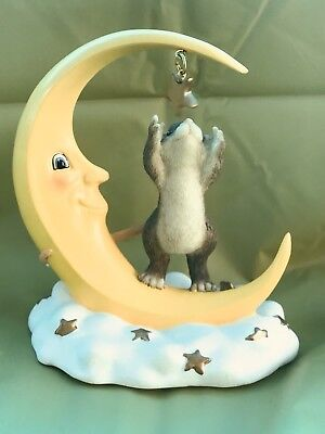 """CHARMING TAILS BY FITZ & FLOYD  """"REACH FOR THE STARS"""" Mouse In Moon 97/718"""