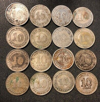 Old Malaya/Straits Settlements Coin Lot - 16 SILVER COINS - 1918-1939 - Lot #614