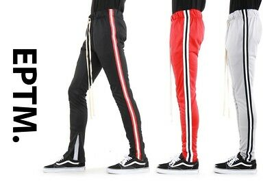 New EPTM. Mens Joggers Ankle Zip Long Drawstring Techno Side Tape Track Pants