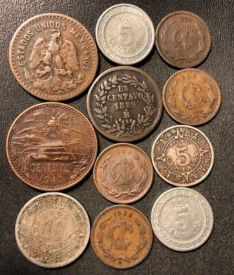 OLD MEXICAN COIN LOT - 18879-1945 - 11 Excellent Collectible Coins - Lot #614