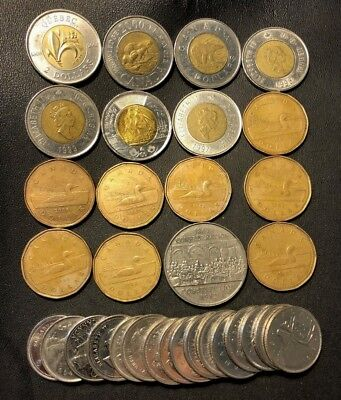 Old Canada Coin Lot - 25 CANADIAN DOLLARS - Nice Coins - Lot #614