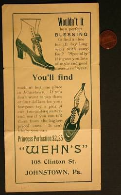 1900-10s Era Johnstown,Pennsylvania Wehn's Shoe Store high button shoes brochure