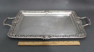 Antique 19thC, German .800 Silver Serving Tray, Detailed Handles 39.64 Troy Oz
