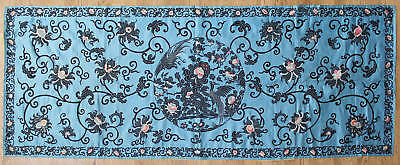 Large 19C Antique Chinese Embroidered Silk Panel Phoenix Roundel