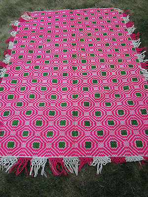 91930's Antique Vtg. PINK Hand Woven Sheep Wool Romanian KILIM Blanket 56x78""