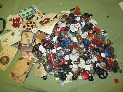 Vintage LARGE Lot of Old Plastic,BONE GLASS BUTTONS