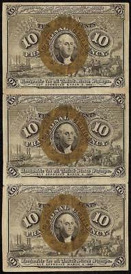 3 STRIP 10 CENT FRACTIONAL CURRENCY POSTAGE NOTE 1863-1867 PAPER MONEY Fr 1244