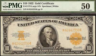 LARGE 1922 $10 DOLLAR BILL GOLD CERTIFICATE COIN NOTE PAPER MONEY Fr 1173 PMG 50