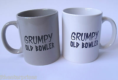 Grumpy Old Bowler Coffee Cup Grey OR White Lawn Bowls Novelty Great Gift Idea