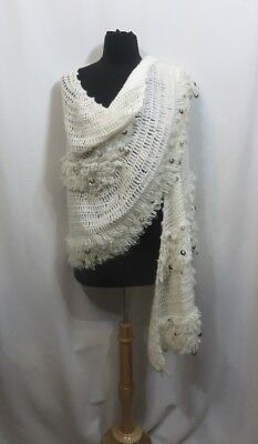 Vintage 50s Wrap Shawl Hand Crocheted Shimmer Sequins Winter White Rockabilly