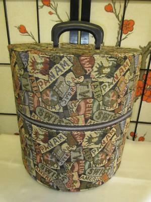 Vtg TALL HAT WIG BOX Tapestry Travel Airline Print Suitcase Luggage Carpet Bag