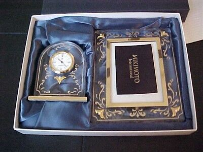 MIKIMOTO CRYSTAL ACRYLIC Gold Accent Pearl Accented Frame Clock Set ...