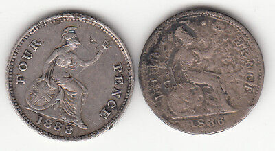 Two  British  four pence groats 1836 & 1888  small silver coins  .925 sterling