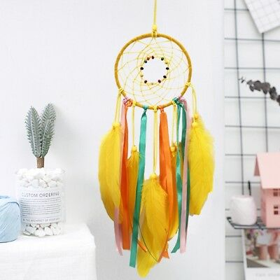 Handmade Yellow Feather Dream Catcher Car Wall Hanging Decor Ornament Craft