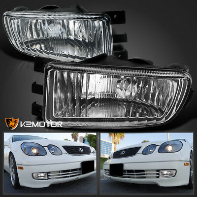 For 1998-2005 Lexus GS300/GS400/GS430 Clear Glass Lens Bumper Driving Fog Lights