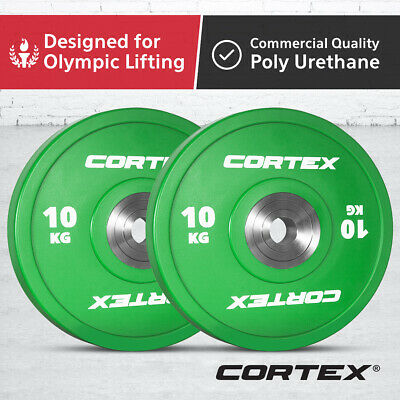 CORTEX 10KG Competition Grade Commercial Gym Olympic Coloured Bumper Plates Pair