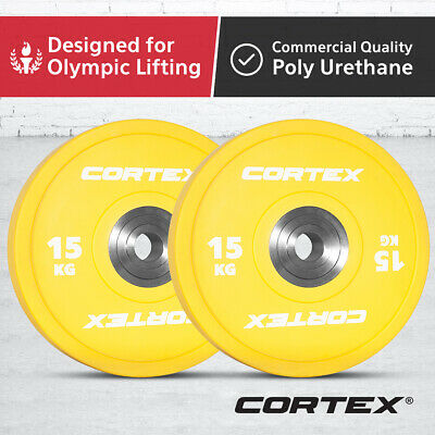 CORTEX 15KG Competition Grade Commercial Gym Olympic Coloured Bumper Plates Pair