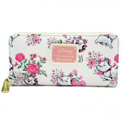 $ New LOUNGEFLY DISNEY Ziparound Wallet MARIE WHITE CAT ARISTOCATS Pink Floral
