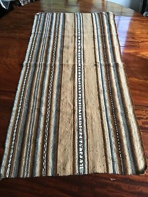 Vintage Bolivian Handwoven Shawl Mantle Andean Wool Textile