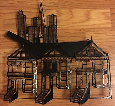 Vintage Mid Century Modern Cityscape Sculpture Space Age Metal Wall Art Eames