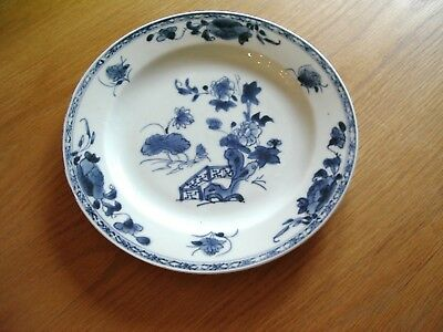 Antique Delft Tin Glaze Blue And White Plate –Chinese Scene.