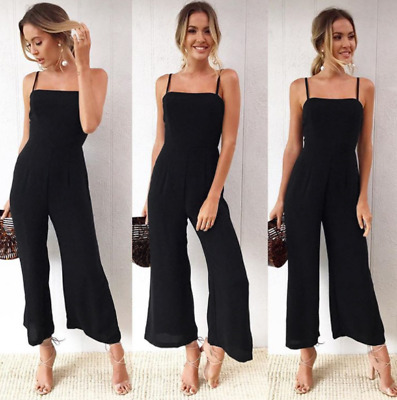 Women Boho solid Sleeveless Strappy Playsuit Party Trousers Floral Jumpsuit