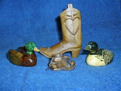4 Hand Carved Things-2 Cowboy Boot-1 Shoe-1 Duck-1 Loon