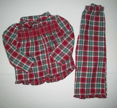 Girls Janie And Jack Cherish The Season Red & Green Plaid Smocked Pajamas Size 3