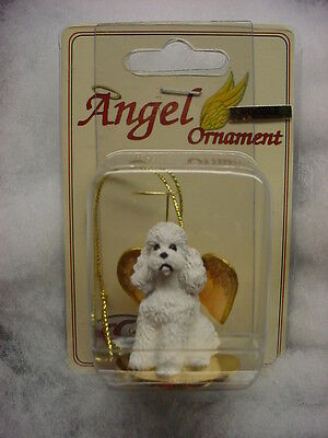 WHITE POODLE dog ANGEL Ornament Resin Figurine Christmas sport puppy COLLECTIBLE