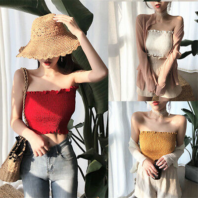 Womens Sexy Solid Stretchy Wrap Chest Tube Top Off Shoulder Vest Basic Crop Tops