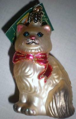Brown Himalayan Cat W/gray Tail Old World Christmas Glass Ornament Nwt 12089
