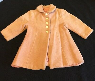 Vintage 1950's Baby Toddler Girl's Winter Coat Wool Dress Coat