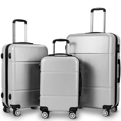 "3Pcs Luggage Set Trolley Suitcase w/ TSA Lock Waterproof 20"" 24"" 28"" Silver/Gray"