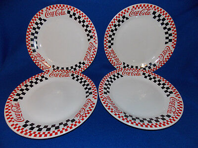 Mint Set of 4 Coca Cola Gibson 10.5 Inch Checkered Dinner Plates1996 Advertising
