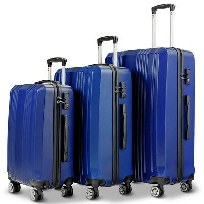 "3Pcs Luggage Set 20"" 24"" 28"" Travel Trolley Suitcase W/ TSA Lock Gliding Zippers"