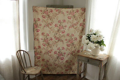 Antique French large scale floral rare width wide cotton material large scale